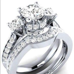 Silver Alloy CZ Bridal Ring Set Sz 6
